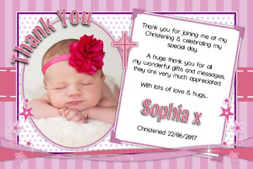 10 Personalised Girls Christening Baptism Thankyou PHOTO Cards N235